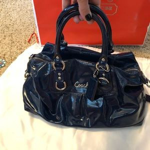 Dark Blue Patent Leather Coach Purse